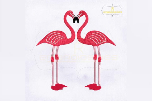 Lovely Pair of Flamingo Valentine's Day Embroidery Design By RoyalEmbroideries