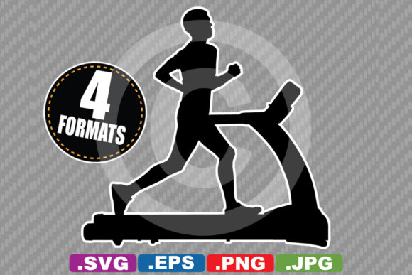 Download Free Man On Treadmill Silhouette Graphic By Idrawsilhouettes for Cricut Explore, Silhouette and other cutting machines.