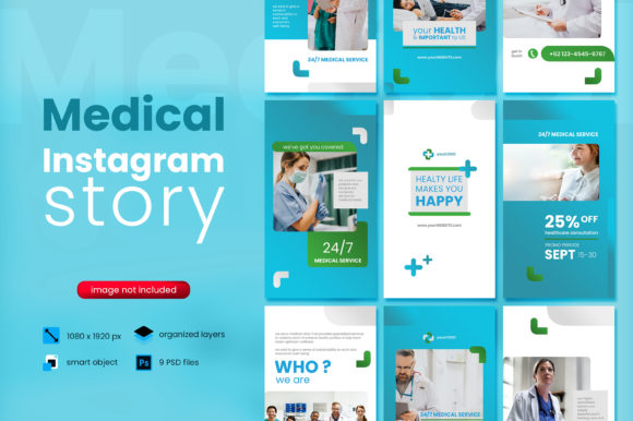 Print on Demand: Medical Social Media Story Template Gráfico Páginas web Por diqtam