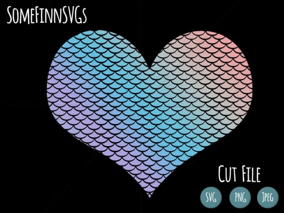 Print on Demand: Mermaid Scale Heart Graphic Crafts By SomeFinnSVGs