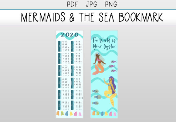 Download Free Mermaids And The Sea Calendar Bookmark Graphic By Capeairforce for Cricut Explore, Silhouette and other cutting machines.