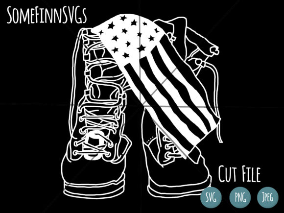 Download Free Military Boots American Flag Graphic By Somefinnsvgs for Cricut Explore, Silhouette and other cutting machines.
