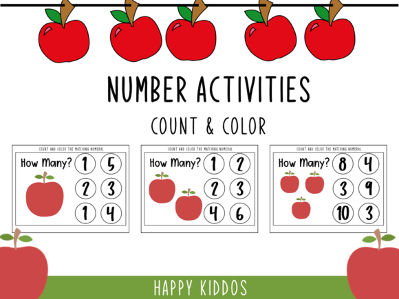Number Activities: Count and Color Graphic PreK By Happy Kiddos