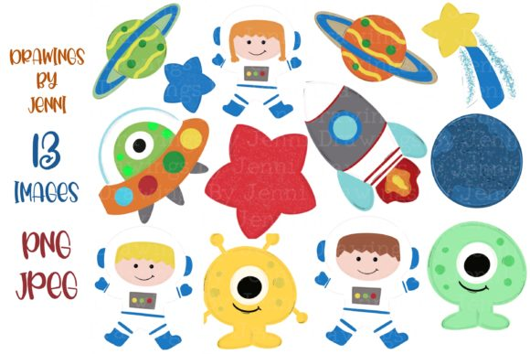 Outer Space Astronaut Aliens Clipart Graphic Illustrations By DrawingsbyJenni
