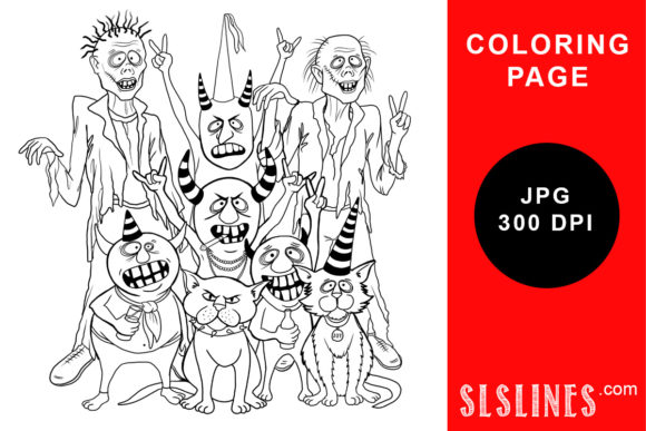 Print on Demand: Party of Evil Moonster Coloring Page Graphic Coloring Pages & Books Adults By SLS Lines