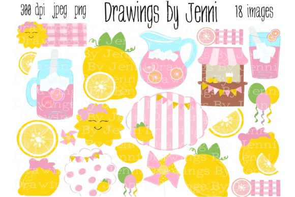 Download Free Pink Lemonade Lemon Clipart Graphic By Drawingsbyjenni for Cricut Explore, Silhouette and other cutting machines.