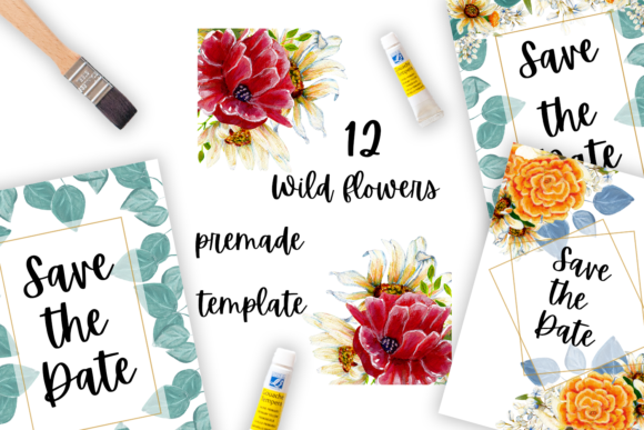 Print on Demand: Premade Wild Flowers Frames and Template Graphic Illustrations By Andreea Eremia Design