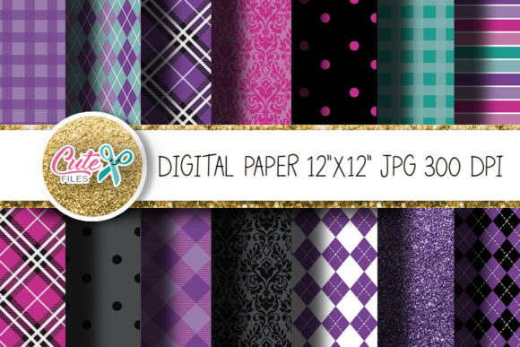 Purple Digital Paper for Crafters Graphic Textures By Cute files