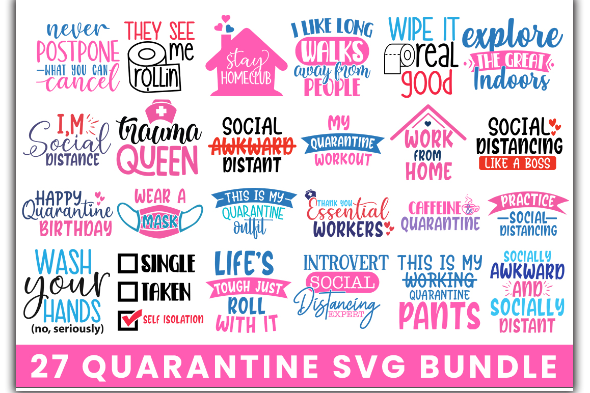 Download Free Quarantine Bundle Graphic By Designdealy Com Creative Fabrica for Cricut Explore, Silhouette and other cutting machines.