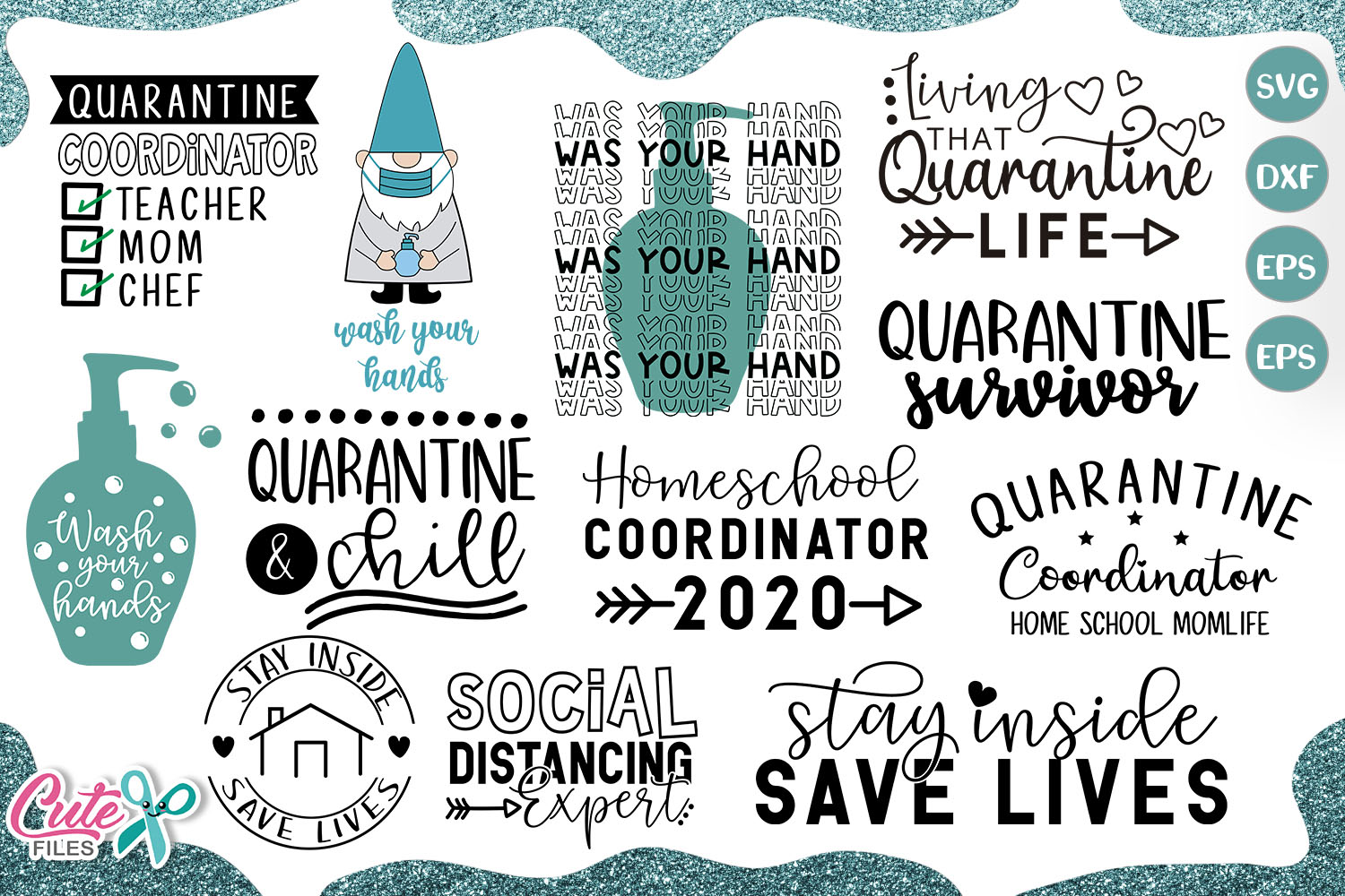 Download Free Quarantine Life Bundle Graphic By Cute Files Creative Fabrica for Cricut Explore, Silhouette and other cutting machines.