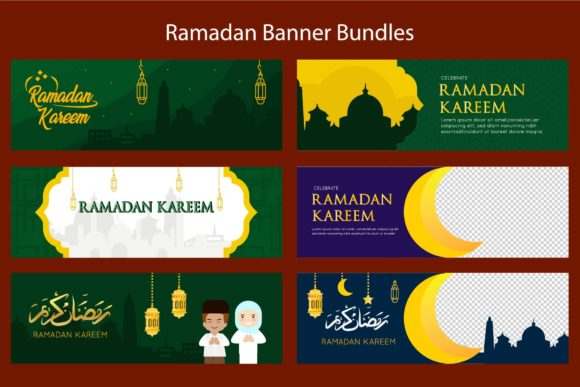 Download Free Ramadan Banner Templates Bundle Graphic By Griyolabs Creative for Cricut Explore, Silhouette and other cutting machines.