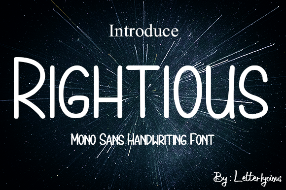 Print on Demand: Rightious Display Font By letterlycious