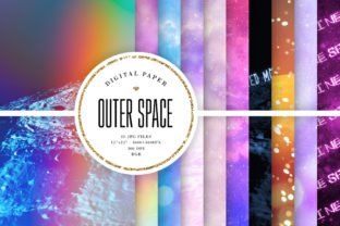 Print on Demand: Space Backgrounds - Planet Digital Paper Graphic Backgrounds By Sabina Leja