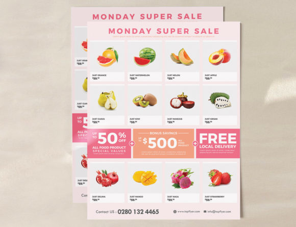 Download Free Supermarket Grocery Flyer Template Graphic By Ivanjoys19 for Cricut Explore, Silhouette and other cutting machines.