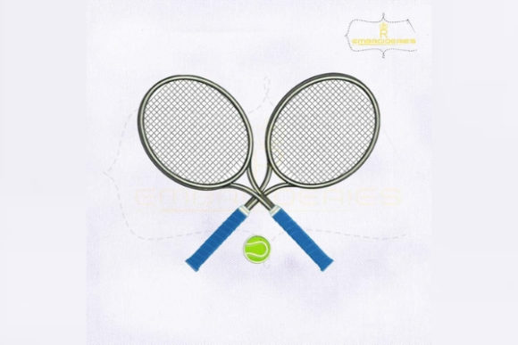 Tennis Rackets and Ball Sports Embroidery Design By RoyalEmbroideries