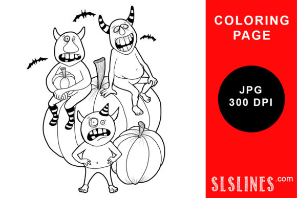 Print on Demand: Three Monsters on a Pumpki Coloring Page Graphic Coloring Pages & Books Adults By SLS Lines