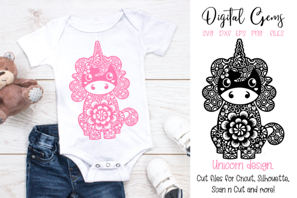 Download Free Unicorn Design Graphic By Digital Gems Creative Fabrica for Cricut Explore, Silhouette and other cutting machines.