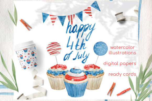 Print on Demand: Watercolor 4th of July Cupcakes Clipart Graphic Illustrations By Natalia Arkusha