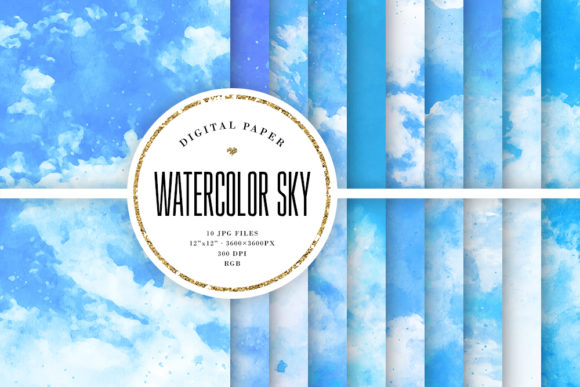 Print on Demand: Watercolor Sky Backgrounds Graphic Backgrounds By Sabina Leja