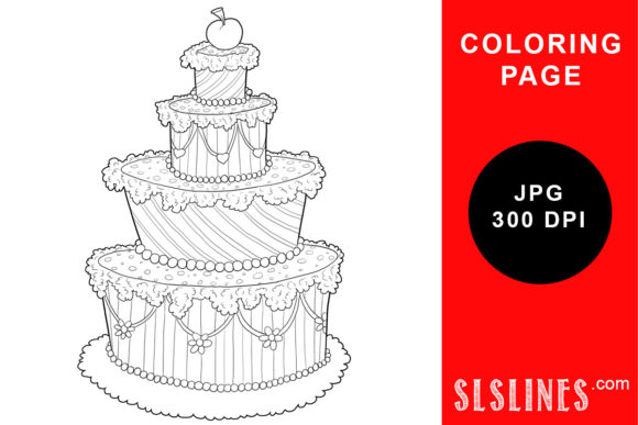Print on Demand: Whimsical Cake Baking or Party Coloring Graphic Coloring Pages & Books Adults By SLS Lines