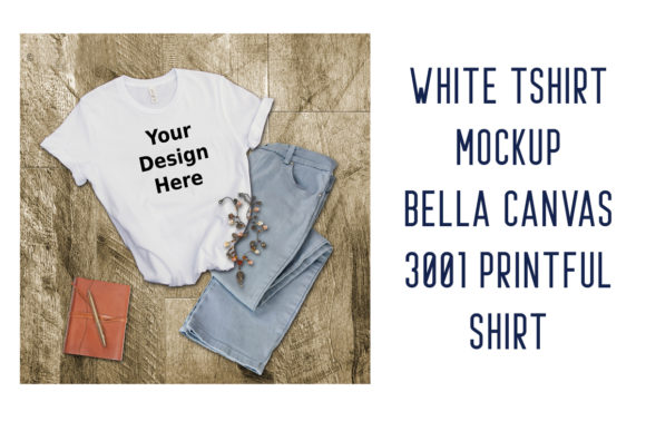 Print on Demand: White Tshirt Mockup Bella Canvas 3001 Graphic Product Mockups By A Design in Time