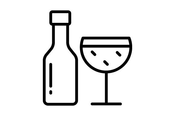Download Free Wine Bottle And Glass Contour Icon Graphic By Deniprianggono78 for Cricut Explore, Silhouette and other cutting machines.
