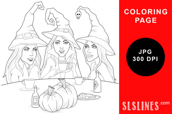 Download Free Witch Trio Tea Party Coloring Page Graphic By Sls Lines for Cricut Explore, Silhouette and other cutting machines.