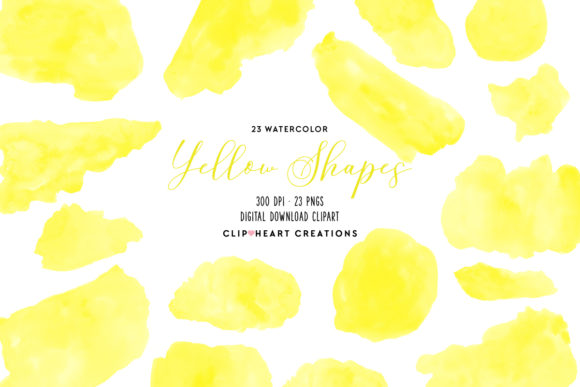 Yellow Watercolor Shapes Graphic Illustrations By clipheartcreations