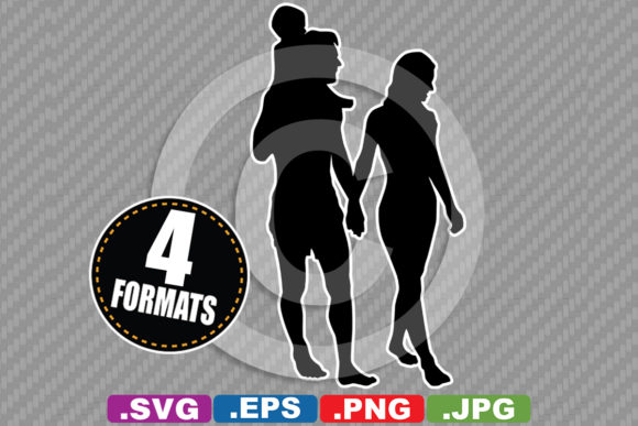 Download Free Young Family Walking Silhouette Graphic By Idrawsilhouettes for Cricut Explore, Silhouette and other cutting machines.