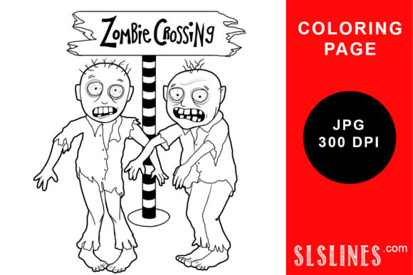 Print on Demand: Zombie Crossing Monster Coloring Page Graphic Coloring Pages & Books Adults By SLS Lines - Image 1