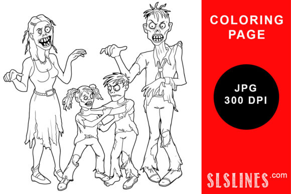 Print on Demand: Zombie Family Coloring Page Graphic Coloring Pages & Books Adults By SLS Lines
