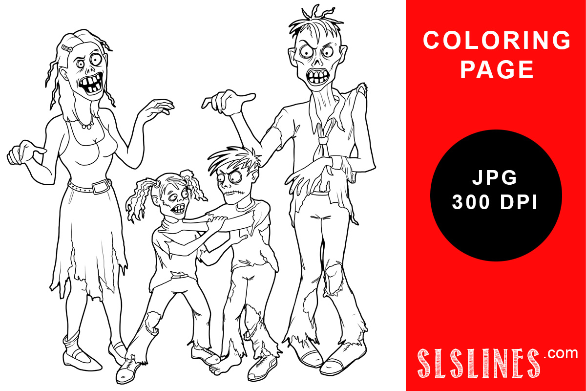 Zombie Family Coloring Page Graphic By Sls Lines Creative Fabrica