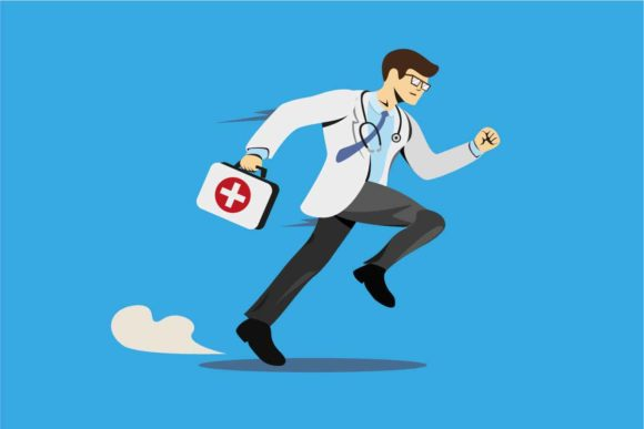 Print on Demand: Doctor Running with Medicine Box Vector Graphic Illustrations By aryo.hadi