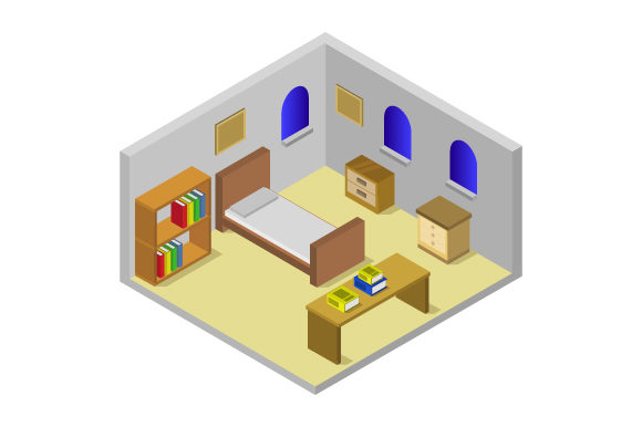 Download Free Isometric Bedroom Graphic By Marco Livolsi2014 Creative Fabrica for Cricut Explore, Silhouette and other cutting machines.