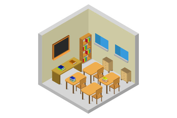 Download Free Isometric School Room Graphic By Marco Livolsi2014 Creative for Cricut Explore, Silhouette and other cutting machines.
