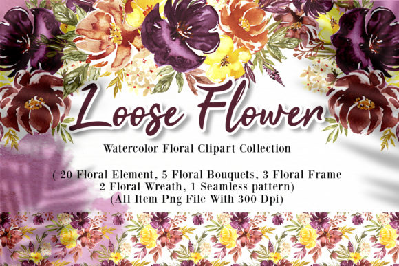 Print on Demand: Loose Flower Watercolor Illustration Graphic Crafts By OrchidArt - Image 1