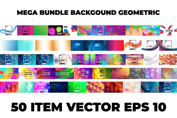 Print on Demand: Mega Bundle Background Geometric Vector Graphic Backgrounds By iop_micro