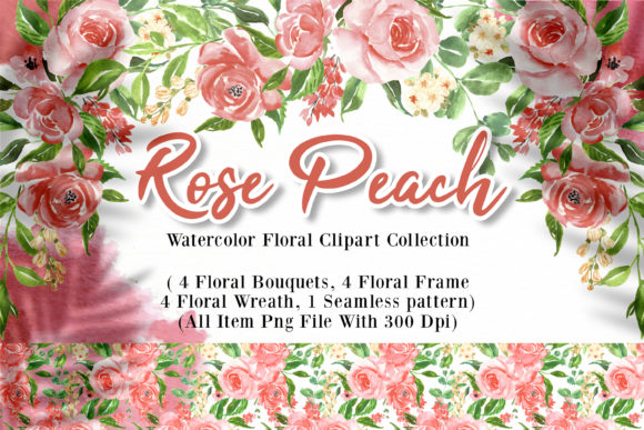 Print on Demand: Rose Peach Watercolor Illustration Graphic Illustrations By OrchidArt