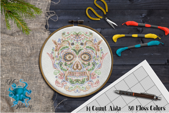 Counted Cross Stitch:  Sugar Skull Graphic Cross Stitch Patterns By Miss Whimsy