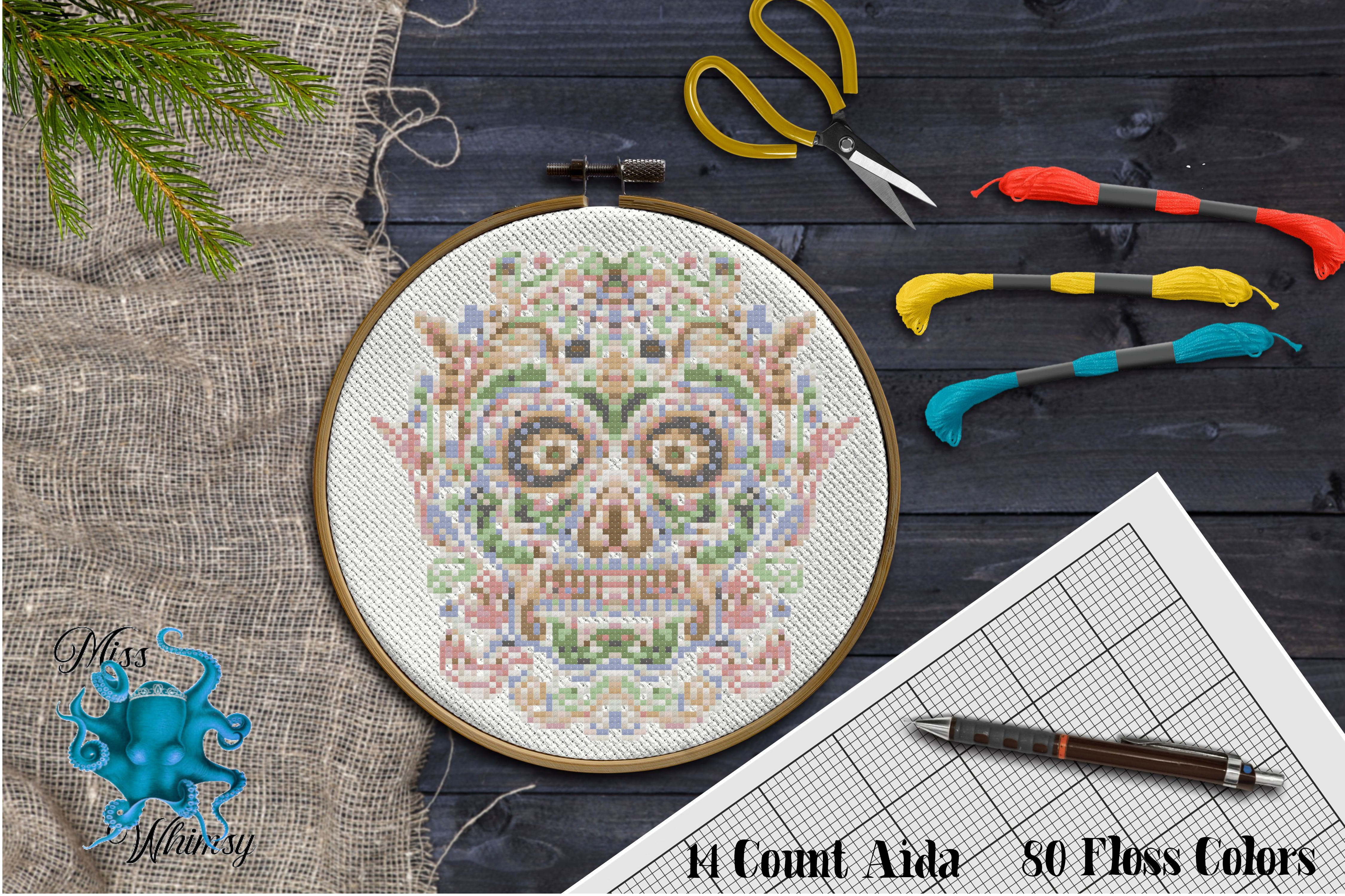 Download Free Counted Cross Stitch Sugar Skull Grafik Von Miss Whimsy for Cricut Explore, Silhouette and other cutting machines.