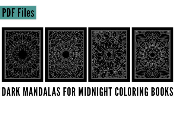 Print on Demand: 4 Dark Mandala Midnight Coloring Book Graphic Coloring Pages & Books Adults By SunandMoon