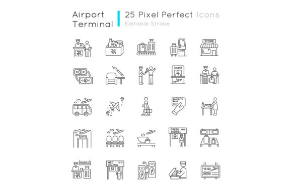 Download Free Airport Terminal Linear Icons Set Graphic By Nesterenko Ruslan for Cricut Explore, Silhouette and other cutting machines.