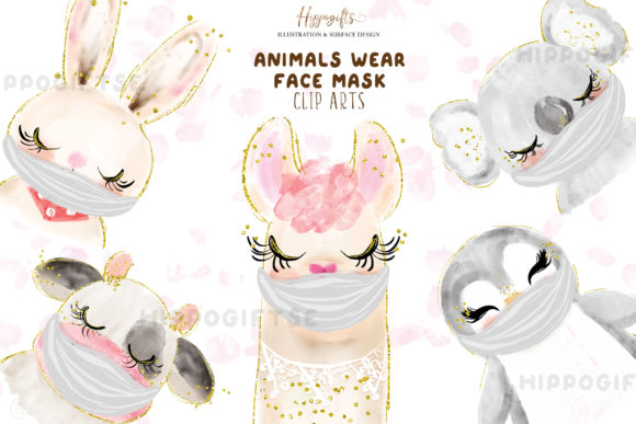 Animals Wear Face Mask Cliparts Graphic Illustrations By Hippogifts - Image 1