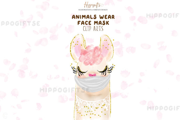 Animals Wear Face Mask Cliparts Graphic Illustrations By Hippogifts - Image 3