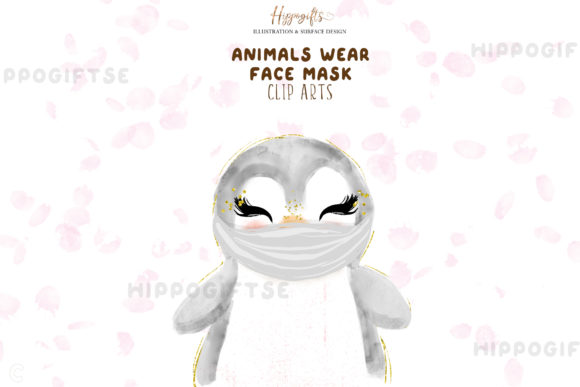 Animals Wear Face Mask Cliparts Graphic Illustrations By Hippogifts - Image 4
