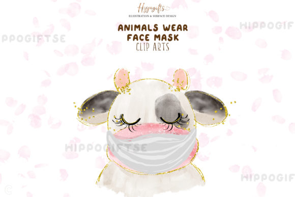 Animals Wear Face Mask Cliparts Graphic Illustrations By Hippogifts - Image 5
