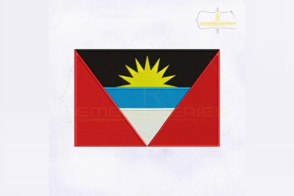 Antigua and Barbuda Flag South America Embroidery Design By RoyalEmbroideries