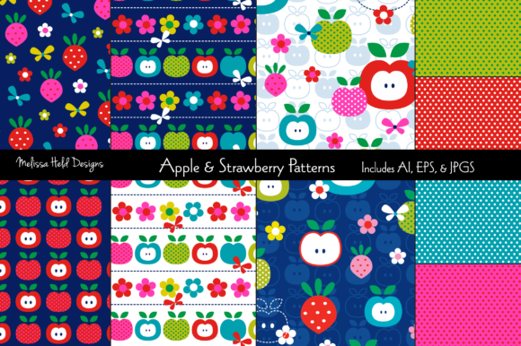 Download Free Apples And Strawberries Patterns Graphic By Melissa Held Designs for Cricut Explore, Silhouette and other cutting machines.