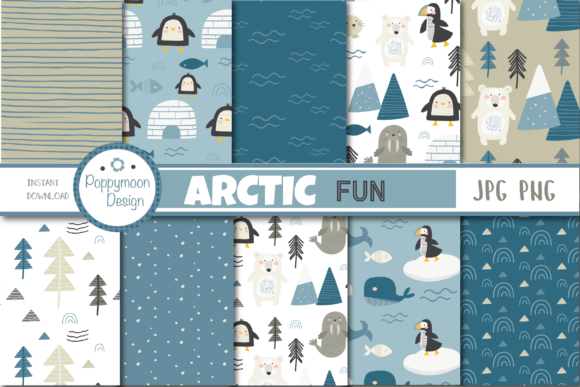 Print on Demand: Arctic Fun Paper Gráfico Moldes Por poppymoondesign