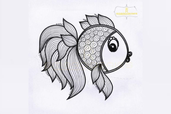 Artistic Fish Outline Fish & Shells Embroidery Design By RoyalEmbroideries - Image 1
